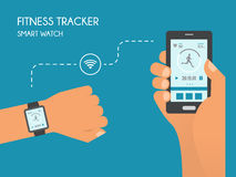 Smart Watch with Fitness application for health. Synchronization of devices. Health test Illustration in flat style Stock Images