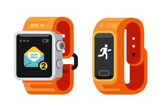 Smart Watch and fitness gadget. Smart Watch and fitness smart gadget. Flat style vector Stock Images