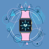 Smart Watch Fitness Tracker Application Technology Electronic Device Over Triangle Geometric Background Royalty Free Stock Images