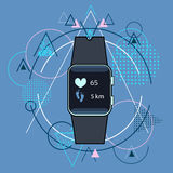Smart Watch Fitness Tracker Application Technology Electronic Device Over Triangle Geometric Background Royalty Free Stock Photography