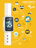 Smart watch flat design Royalty Free Stock Images