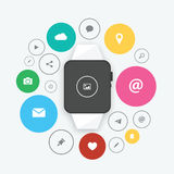 Smart watch in flat design ui vector Royalty Free Stock Image