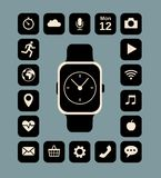 Smart watch. Flat illustration of smart watch and technology functions royalty free illustration