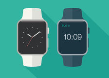 Smart watch. Flat modern and classic smart watch with long shadow. Vector illustration Royalty Free Stock Photography