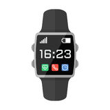 Smart Watch Flat Vector Illustration. Black smart watch with interface. Flat style vector illustration isolated on white Royalty Free Stock Photos