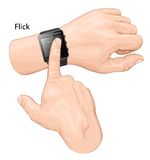Smart watch gesture. Gesture flick. Royalty Free Stock Photography