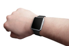 Smart watch on hand with blank screen for mockup Royalty Free Stock Photo