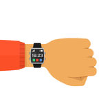 Smart Watch on The Hand Concept Vector Flat Illustration. Vector illustration of smart watch on the hand  on white. Concept wearable technology. Flat style Royalty Free Stock Photography