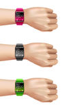 Smart Watch On Hand Decorative Icon Set Stock Image