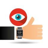 Smart watch on hand- eye icon Stock Photography