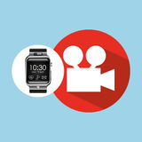 Smart watch on hand- film movie camera. Vector illustration eps 10 Royalty Free Stock Photography