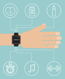 Smart watch on hand with sport icon. Flat  illustration Stock Images