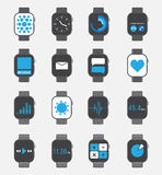 Smart watch icon set Royalty Free Stock Images