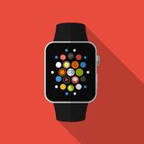Smart watch with icons, concept. Flat design Royalty Free Stock Image