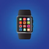 Smart watch with icons. Royalty Free Stock Images