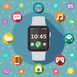 Smart watch with icons, flat design concept Stock Image