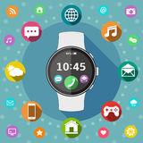 Smart watch with icons flat design Stock Image