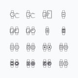 Smart watch icons flat mono line design vector. Royalty Free Stock Photo