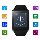 Smart watch with icons near gadget Stock Photos