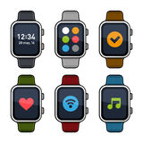 Smart Watch Icons Set. Flat Style. Vector Royalty Free Stock Photo