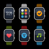 Smart Watch Icons Set. Flat Style. Vector Royalty Free Stock Photography
