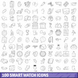 100 smart watch icons set, outline style Royalty Free Stock Photography