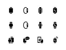Smart watch icons on white background Stock Photo