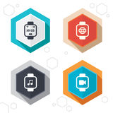 Smart watch icons. Wrist digital time clock Stock Images