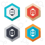 Smart watch icons. Wrist digital time clock Stock Image