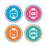 Smart watch icons. Wrist digital time clock. Stock Photography