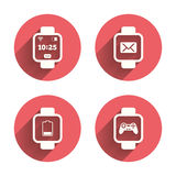 Smart watch icons. Wrist digital time clock Royalty Free Stock Images