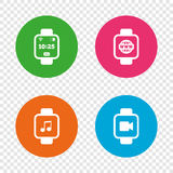 Smart watch icons. Wrist digital time clock. Royalty Free Stock Images