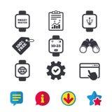 Smart watch icons. Wrist digital time clock. Royalty Free Stock Photo