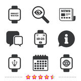 Smart watch icons. Wrist digital time clock. Stock Images