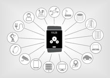 Smart watch  illustration in flat design with various icons on light grey background. Smart watch to access various mobile internet services Stock Images