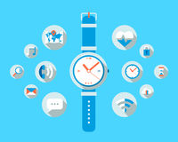 Smart watch. Illustration with lots of application icons Stock Photos