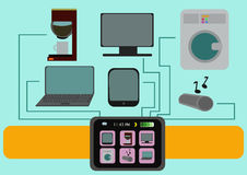 Smart Watch Illustration With Set of Home and Lifestyle items. Stock Photos