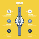 Smart watch infographics or presentations template with outline Stock Photo