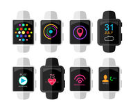 Smart Watch with Interface and App Icons Set. Concept Design .  Stock Photos