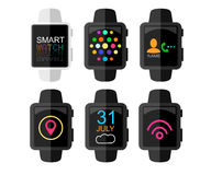 Smart Watch with Interface and App Icons Set. Concept Design . Vector Illustration. Flat Style. Royalty Free Stock Image