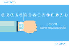 Smart watch and internet of things concept. Smart watch and smart home devices icons. Consumer and connected devices. Royalty Free Stock Photo