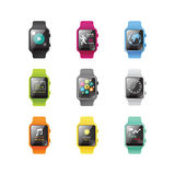 Smart watch isolated with icons full color concept. Vector Illustration Stock Image