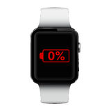 Smart watch with low battery sign on screen Stock Photos
