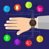 Smart watch on male hand new technology electronic device Royalty Free Stock Photos