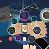 Smart watch map application Stock Image