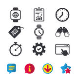 Smart watch. Mechanical clock time and timer. Royalty Free Stock Photography