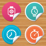 Smart watch. Mechanical clock time and timer. Royalty Free Stock Photo