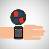 Smart watch medical service pill medicine Stock Photography