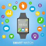 Smart watch new technology electronic device with apps icons flat design. Vector Stock Photo