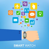 Smart watch new technology electronic device with apps icons flat design. Stock Photos